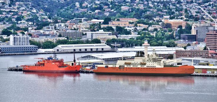 Der Heimathafen der australischen Eisbrecher ist traditionell Hobart auf Tasmanien. Im Bild ist der