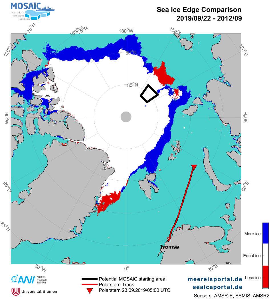 Definitionsgemäß werden Regionen mit einer Meereiskonzentration von über 15 Prozent als eisbedeckt eingestuft – die Grenze zu nicht-eisbedeckten Gebieten wird als Eiskante bezeichnet. Die Karte zeigt den Verlauf der Eiskante am 22.September 2019 im Vergleich zum Monatsmittel September 2012. Blau markiert sind Regionen mit einer vergrößerten Eisausdehnung gegenüber dem September 2012, während Regionen mit geringerer Eisausdehnung rot gekennzeichnet sind. Grafik: Meereisportal/ Alfred-Wegener-Institut